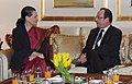 The Chairperson, National Advisory Council, Smt. Sonia Gandhi meeting the President of the Republic of France, Mr. Francois Hollande, in New Delhi on February 14, 2013.jpg