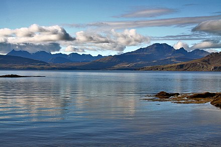 The Scottish Highlands, located in the north west of Scotland The Cuillins on a still morning (9878281443).jpg