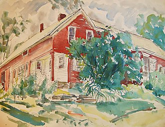 Bernadine Custer - Ink and watercolor drawing (c. 1960s) of Custer's summer home in Londonderry, VT.  She bequeathed the home to the Londonderry Arts and Historical Society upon her death.