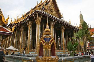 Emerald Buddha - The Wat Phra Kaew chapel where the Emerald Buddha is now kept in Bangkok