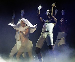 "LoveGame - Gaga performing ""LoveGame"" on one of the revamped Monster Ball Tour shows, wearing a nun's habit"
