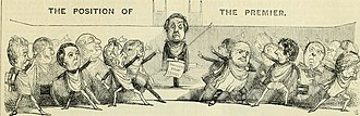 Maynooth Grant - Peel, with the Maynooth Grant, stands in the Commons. Those on the left of the picture applaud him, those on the right abuse him. From Punch, 1845.