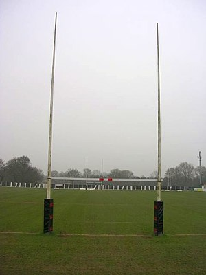 Laws of rugby union - Rugby union goal posts and try line.