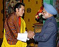 The Prime Minister, Dr. Manmohan Singh meeting with the King of Bhutan, H.M. Jigme Khesar Namgyel Wangchuck, at Bhutan on May 16, 2008.jpg