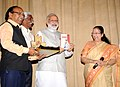 The Prime Minister, Shri Narendra Modi releasing the book (Play) 'Matoshree', authored by the Speaker, Lok Sabha, Smt. Sumitra Mahajan, at a function, in New Delhi on April 11, 2017.jpg