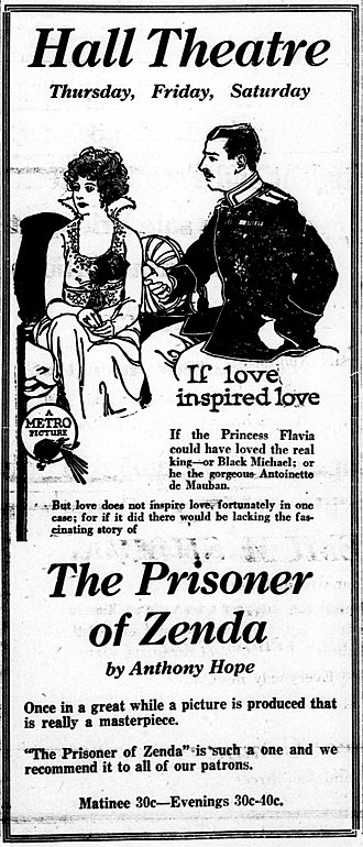 The Prisoner of Zenda (1922 film) - A newspaper advertisement.