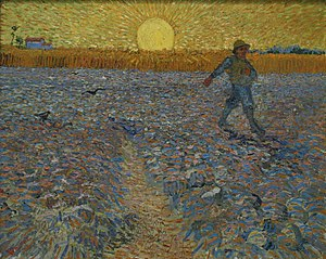 Wheat Fields (Van Gogh series) - The Sower, June 1888, Kröller-Müller Museum, Otterlo. Inspired by Jean-François Millet Van Gogh made several paintings after The Sower by Millet