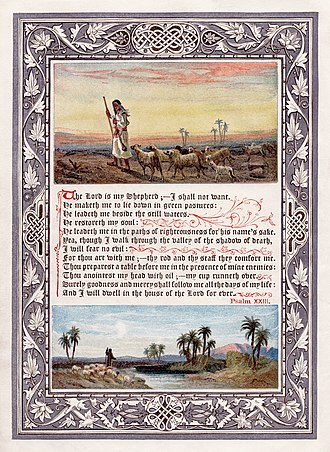 Psalms - An 1880 Baxter process illustration of Psalm 23, from the Religious Tract Society's magazine The Sunday at Home.