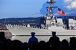 The USS Halsey conducts a pass-in-review during the 75th National Pearl Harbor Remembrance Day. (30666420804).jpg