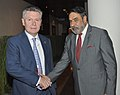 The Union Minister for Commerce & Industry, Shri Anand Sharma with the Trade Commissioner of the European Union (EU), Mr. Karel de Gucht, on the sidelines of the 9th WTO Ministerial, at Bali on December 03, 2013.jpg