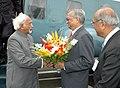 The Vice President, Shri Mohd. Hamid Ansari being received by the Chairman, Atomic Energy Commission, Dr. Anil Kakodkar, on his arrival at BARC Complex, in Mumbai on August 26, 2009.jpg