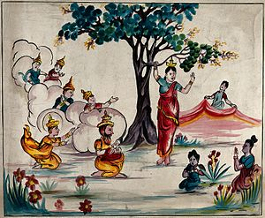 Vesak - Queen Maya holds onto a branch of a tree while giving birth to the Buddha, who is received by Śakra as other gods look on.