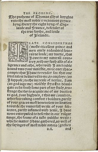 Thomas Elyot - The first page of The boke named the Gouervnour, deuysed by syr Thomas Elyot knight, from a 1537 printing