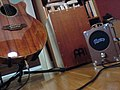 The perfect trio - Takamine, Cajon, Pignose.jpg