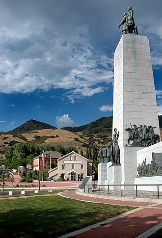History of Utah - location where members of the Church of Jesus Christ entered the Salt Lake Valley in 1847, now the This Is The Place Monument and Deseret Village