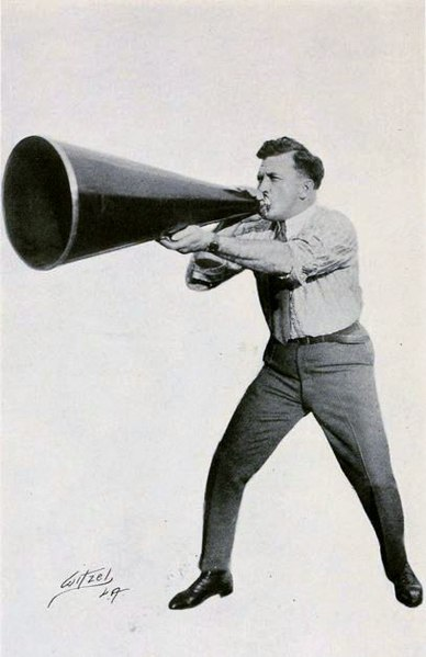 Man with megaphone image by Peter Milne, Motion Picture Directing; The Facts and Theories of the Newest Art, Falk Publishing Co., New York, 1922, on the Internet Archive. Updated to Wikimedia commons under the Public Domain