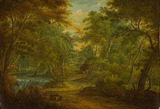 A Wooded Landscape with a Stream and a Fisherman