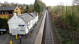 Thorntonhall railway station. Old ticket office and waiting room, etc from the overbridge.jpg