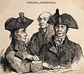 Three Chelsea Pensioners, two playing cards. Wood engraving. Wellcome V0012940.jpg