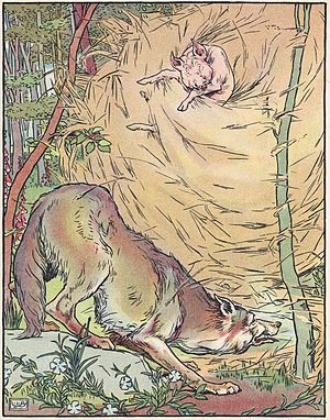 The Three Little Pigs - The wolf blows down the straw house in a 1904 adaptation of the story. Illustration by Leonard Leslie Brooke.