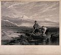 Three young boys are fishing in rock pools with a large net. Wellcome V0040516.jpg