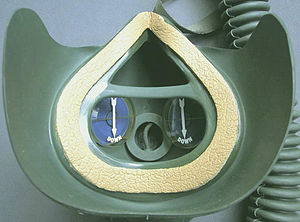 Oxygen mask - Inner view of a military aviators mask showing face seal, facepiece and inhalation valves