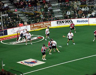 National Lacrosse League - The New York Titans defend against the Calgary Roughnecks during the 2009 NLL Championship game, in Calgary.
