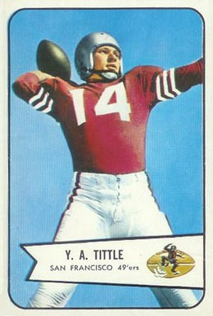 Y. A. Tittle - Tittle on a 1954 trading card