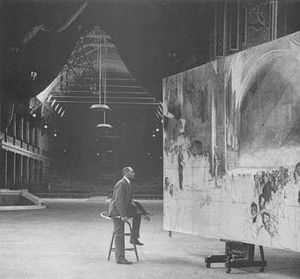The Big Picture (painting) - Roberts working on the painting at the Royal Exhibition Building