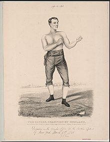 Tom Sayers, champion of England- born at Pimlico, near Brighton, England, in 1826, height 5 feet 8 inches, fighting weight, 10 stone 10 lbs LCCN2002708507.jpg