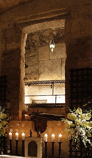 Sacro Convento - Grave of Saint Francis in the Crypt of the Basilica of San Francesco d'Assisi.