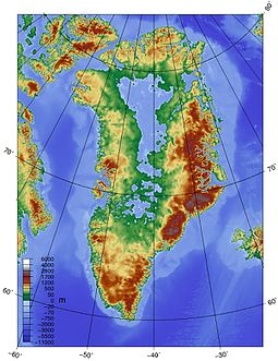 Greenland bedrock, at current elevation above sea level Topographic map of Greenland bedrock.jpg
