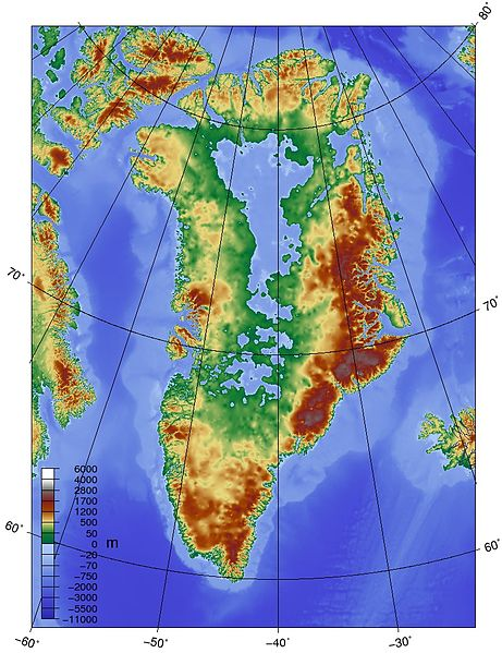 Greenland Topographical with No Ice Sheet