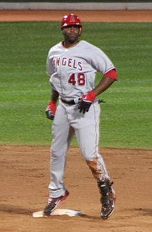 Torii Hunter in a Los Angeles Angels of Anaheim uniform standing on second base