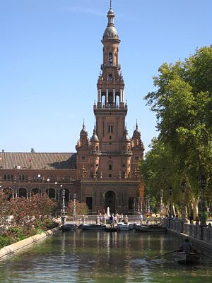 Plaza de España, Seville - South tower and river.