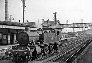 Totnes railway station - Totnes station in 1958, with 2-6-2T banker