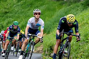Adam Yates (cyclist) - Yates (centre) wearing the White Jersey at the 2016 Tour de France