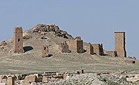 Brick tombs on a hillside