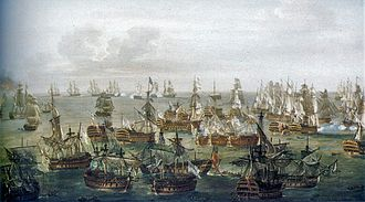 Painter Nicholas Pocock's conception of the situation at 1700h Trafalgar2.jpg