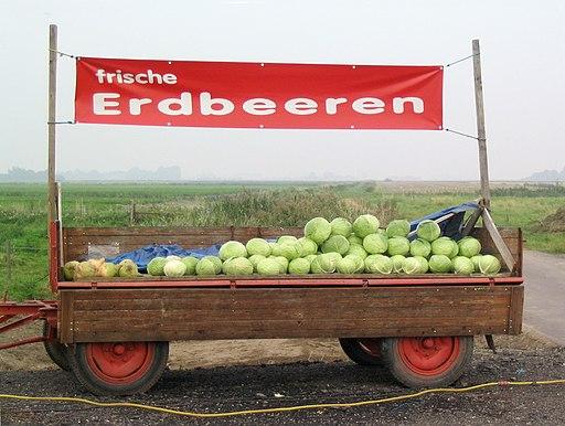 """Trailer with ready-for-sale white cabbage and a banner reading """"fresh strawberries"""""""