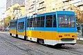 Tram in Sofia near Russian monument 021.jpg