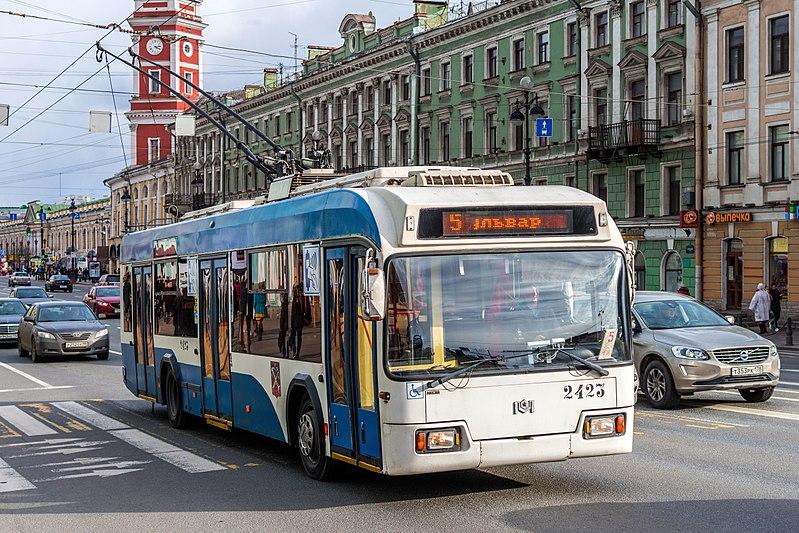 Trolleybus BKM-321 on Nevsky Avenue (img2).jpg