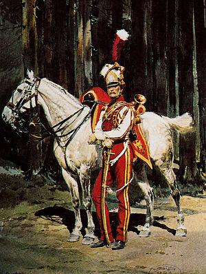 2e régiment de chevau-légers lanciers de la Garde Impériale - Image: Trompette des lanciers rouges de la Garde impériale