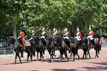 Brigade Major Household Division leading troopers of the Household Cavalry back towards Buckingham Palace after Trooping the Colour. Trooping the Colour 2018 (01).jpg
