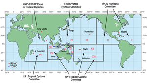 Tropical cyclone basins - Official tropical cyclone basins