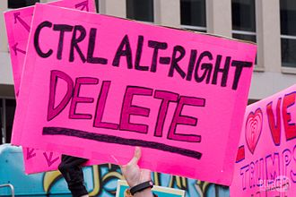 Alt-right - A placard criticising the alt-right displayed at the 2017 Women's March.