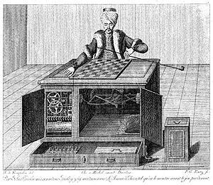 The Turk - A copper engraving of the Turk, showing the open cabinets and working parts. A ruler at bottom right provides scale. Kempelen was a skilled engraver and may have produced this image himself.