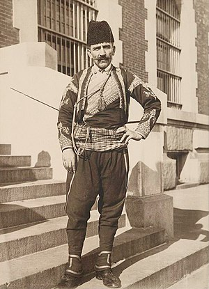 English: A Turkish immigrant in New York (1912).