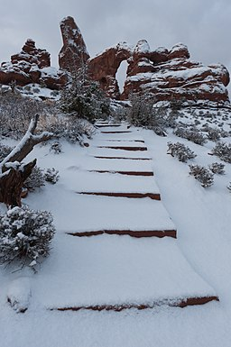 Turret Arch Trail with Fresh Snow (6551324935)