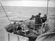 Twin 40mm bofors gun on escort carrier